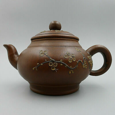 Hand Carved Flowers Dark Red Enameled Pottery Teapot In box China Yixing Kung Fu