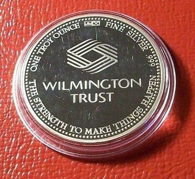 Wilmington Trust Bank Art Round By Johnson-Matthey  1 Troy oz.999 Fine Silver