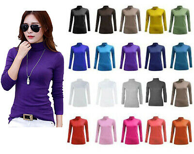 New Ladies Womens Polo Neck Top Stretch Long Sleeve Turtle Neck Top Jumper 8-26