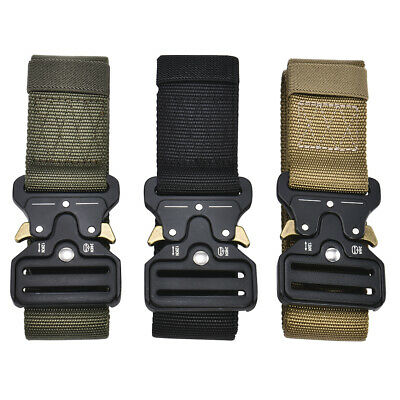 Mens Heavy Duty Rigger Military Tactical Belt With Quick-Release Metal Buckle