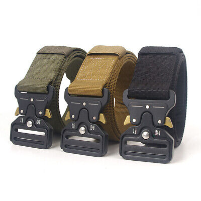 Mens Heavy Duty Military Tactical Training Belt With Quick-Release Metal Buckle