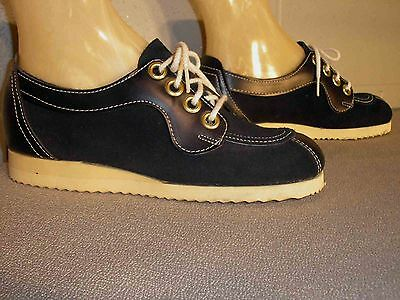 5.5 NOS NAVY BLUE VTG 1970s Faux Suede OXFORD PLATFORM WEDGE HEEL 70s Mod Shoe