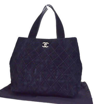 510bcf94bd4b Authentic CHANEL CC Quilted Hand tote Bag Suede Leather Black Vintage  39EG190