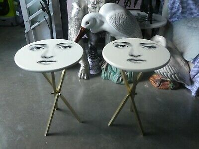Pair Of Iconic Fornasetti Julia Side Tables