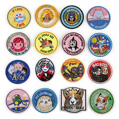 Round Cartoon Patches Embroidered Sew On Iron On Badge Fabric Transfer Clothes