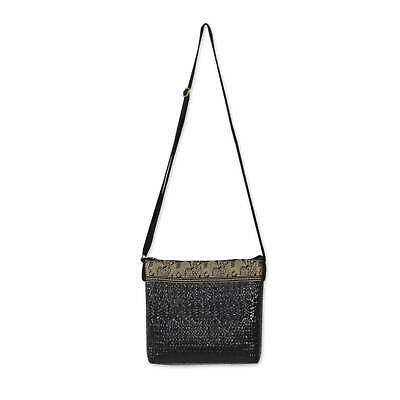 Natural Fiber Shoulder Bag 'Siam Elephants on Black' NOVICA Thailand