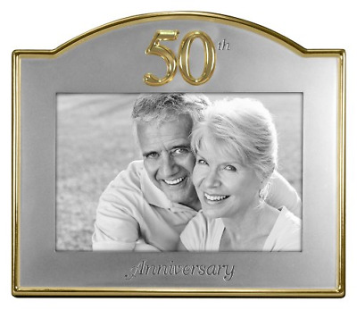 Wedding 50th Golden Anniversary Photo Picture Frame Gift Party Celebration 4x6in