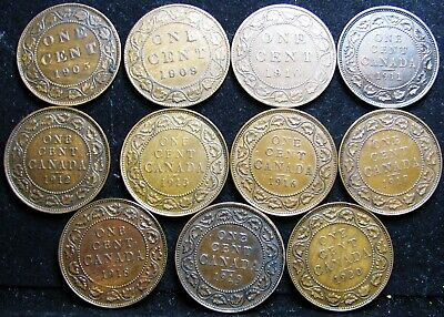 Canadian Canada Large Cent Lot 1903-1920 11 Coins Higher Grade NICE ---- LOT #5