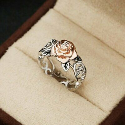 Charm Two Tone Silver Floral Rings 14k Rose Gold Flower Wedding Bridal Hot Gift
