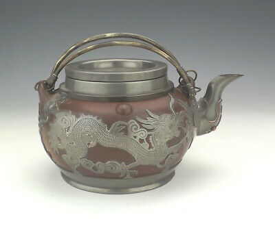 Antique Chinese Yixing Teapot - With Pewter Oriental Dragon & Bat Decoration