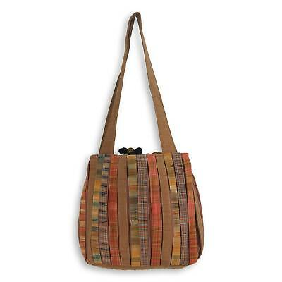 Thai Shoulder Bag 'Oriental Brown' Hand Woven Pleated Cotton 3 Pockets NOVICA