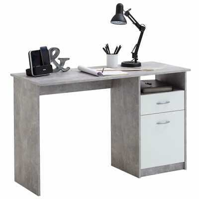 FMD Desk with 1 Drawer Concrete and White Office Workstation Computer Table