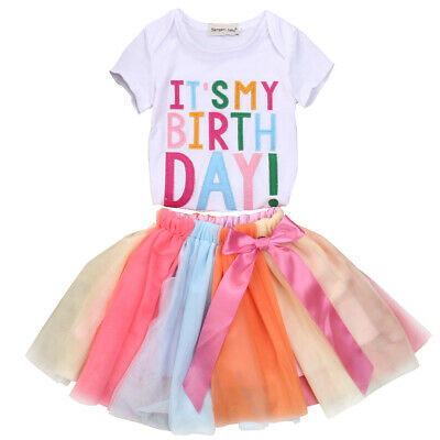 41e8e9ea5 US Toddler Baby Kid Princess Girl Birthday Dress Rainbow Lace TShirt Party  Skirt
