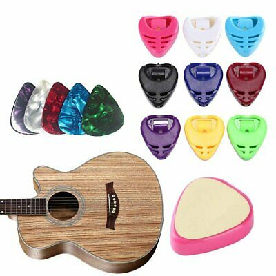 Guitar Pick Holder Case Collection Clamp Adhesive with 5 Assorted Picks Plectrum