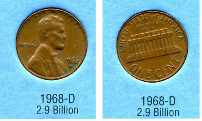 1968 D ABE Lincoln Memorial AMERICAN PENNY 1 CENT US U.S AMERICA ONE COIN #B2
