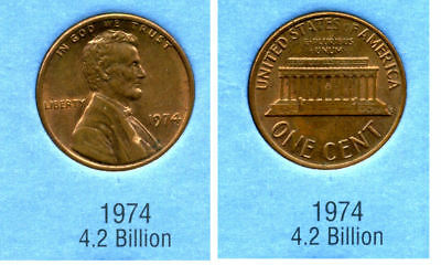 1974 P ABE Lincoln Memorial AMERICAN PENNY 1 CENT US U.S AMERICA ONE COIN #B2