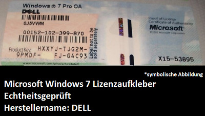 Microsoft Windows 7 Professional CoA Lizenzaufkleber Key OEM von Marke DELL
