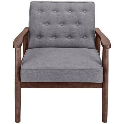 Retro Modern Fabric Upholstered Wooden Lounge Chair Grey Simple Exquisite Solid
