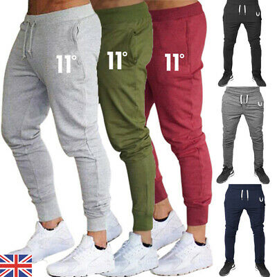 UK Mens Gym Slim Fit Bottoms Trousers Tracksuit Skinny Joggers Sweat Track Pants