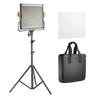 2 Pack 480 LED Dimmable Panel Video Light with Barndoor U Bracket Light Stand