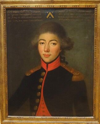 Large 18th Century French Napoleonic Wars Military Naval Officer Portrait