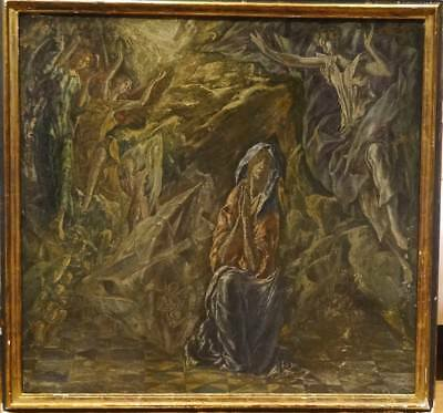 Large 16th 17th Century Old Master Madonna Grotto & Angels Domenikos EL GRECO