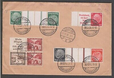 1936 Germany - Hirzenhain multi franked registered cover used to Lubeck con.