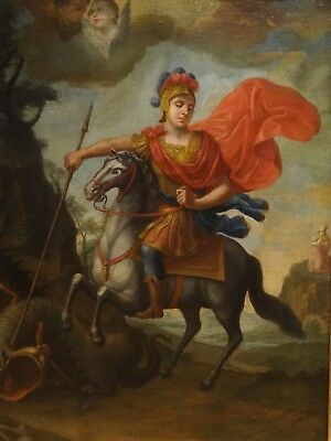 Large 16th 17th Century Italian Old Master St George & The Dragon Oil Painting