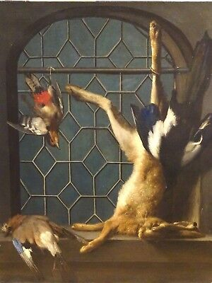 Large 18th Century French Old Master Still Life Hare & Birds Jean-Baptiste Oudry