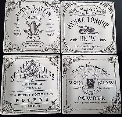 222 Fifth Hallow Apothecary Halloween Square Side Salad Plate Set Of 4
