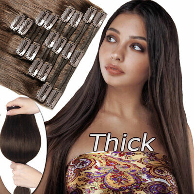 """Clip In 100% Remy Human Hair Extensions Double Weft Extra Thick 170G 20 22"""" P280"""