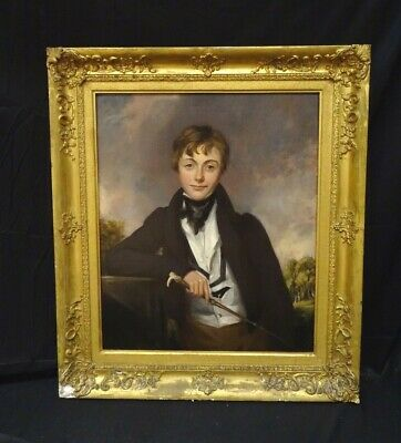 Large Early 19th Century English Portrait Of Roger Sturley Nunn & Riding Crop