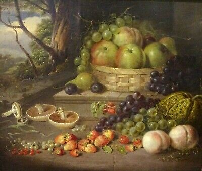 Fine Large 19th Century Fruit & Mushrooms Still Life Eloise Harriet STANNARD