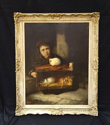 Large 19th Century English Boy Portrait & Guinea Pigs Stable Scene ROBERT JAMES
