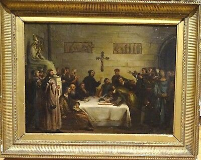 Large 19th Century Medieval Treaty Declaration King Soldiers Monks Oil Painting