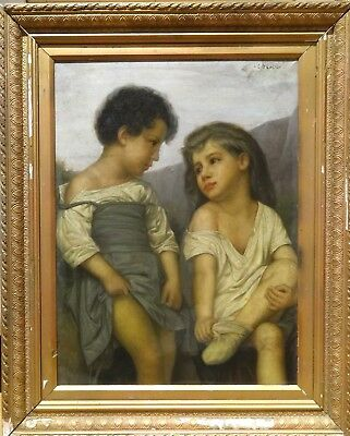 Fine Large 19th Century Children Bathing Girls Portrait Phillip De LASZLO