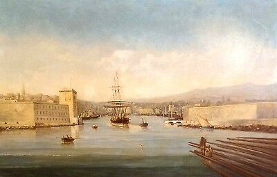 Fine Large 19th Century French Marseille Harbour Landscape Paul Seignon