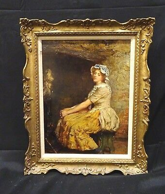 19th Century English Weary Maid Interior Portrait by William A. BREAKSPEARE