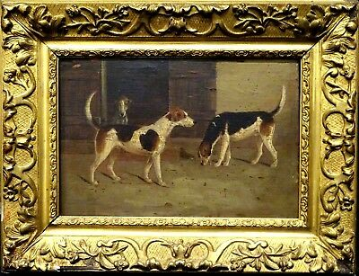 18th Century English Foxhounds Dog Hounds Stable Antique Oil Painting