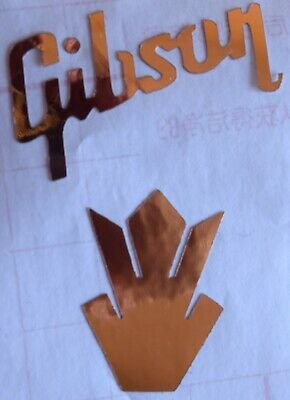 Gibson Headstock with Inlay Vinyl Sticker / Decal (Metallic Rose Gold)