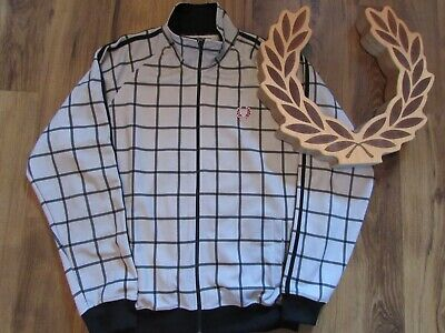 Fred Perry Twin Tape Track Bomber Jacket L/XL Mod Scooter Casuals Ska Terrace
