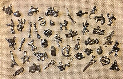 45 Fabulous Vintage Silver Tone Charms New Old Stock NOS Lot #3