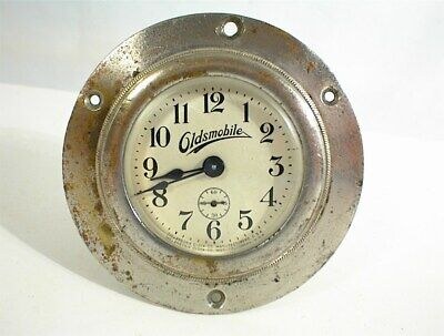 OLDSMOBILE CLOCK 1900s 1910 1920 ANSONIA USA VINTAGE ANTIQUE AUTO DESK WORKS !