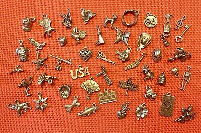 45 Fabulous Vintage Silver Tone Charms New Old Stock NOS Lot #5
