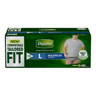 DEPEND FIT-FLEX Max Absorbency Underwear for MEN Size LARGE 84 Count