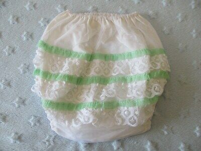 Vintage Frilly Bottom Plastic Baby Pants, Rare Green & White Frilly Bum