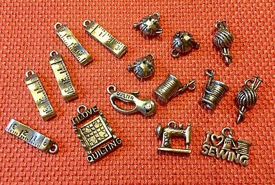16 Fabulous Sewing Vintage Silver Tone Charms New Old Stock NOS Lot #13