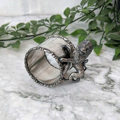 Antique Victorian Heavy Ornate Silverplate Lion Scroll Napkin Ring