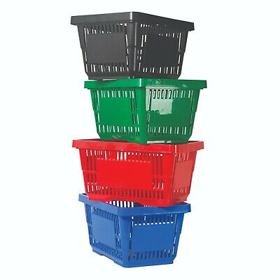 Shopping Baskets With Handles, 5.25 Gallon, Pack Of 12, Choice Of 4 Colors