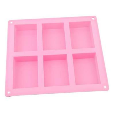 6-Cavity Rectangle Soap Mold Silicone Mould Baking Homemade Craft W